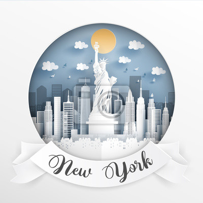Paper cut style of world famous landmark of New York city, America with white frame and label. Travel postcard and poster, brochure, advertising. Vector illustration.