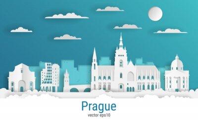 Paper cut style Prague city, white color paper, vector stock illustration. Cityscape with all famous buildings. Skyline Prague city composition for design.