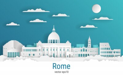 Paper cut style Rome city, white color paper, vector stock illustration. Cityscape with all famous buildings. Skyline Rome city composition for design.