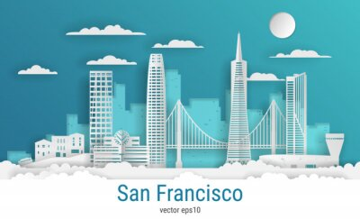 Paper cut style San Francisco city, white color paper, vector stock illustration. Cityscape with all famous buildings. Skyline San Francisco city composition for design.
