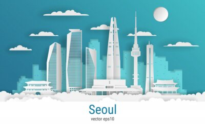 Paper cut style Seoul city, white color paper, vector stock illustration. Cityscape with all famous buildings. Skyline Seoul city composition for design.