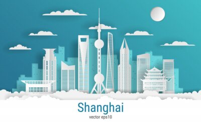 Paper cut style Shanghai city, white color paper, vector stock illustration. Cityscape with all famous buildings. Skyline Shanghai city composition for design.