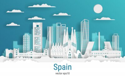 Paper cut style Spain, white color paper, vector stock illustration. Cityscape with all famous buildings. Skyline Madrid city composition for design.