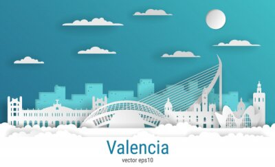Paper cut style Valencia city, white color paper, vector stock illustration. Cityscape with all famous buildings. Skyline Valencia city composition for design.
