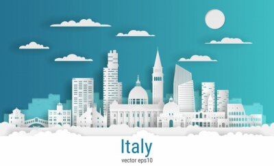 Paper cut style Venice Italy, white color paper, vector stock illustration. Cityscape with all famous buildings. Skyline Venice city composition for design.