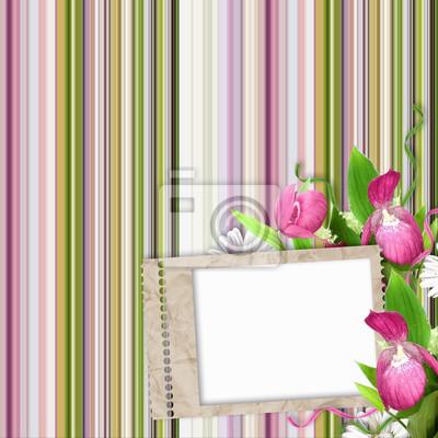 Papier Rahmen auf gestreiften Hintergrund in pink, grün und weiß