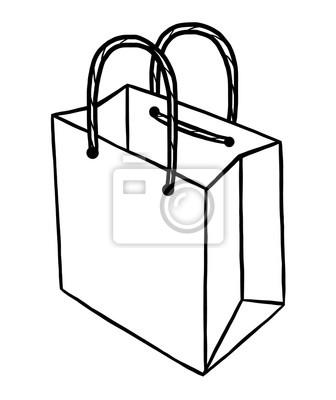Papier tasche cartoon vektor und illustration, schwarz und