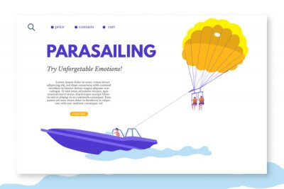 Parasailing landing page template with text space