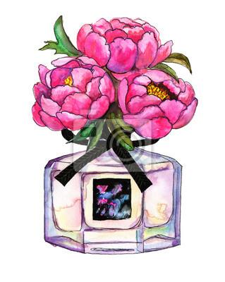 Parfüm botlle mit einem Bouquet von Pfingstrosen. Handgezeichnete Aquarell-Illustration