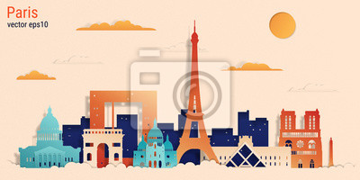Paris city colorful paper cut style, vector stock illustration. Cityscape with all famous buildings. Skyline Paris city composition for design.
