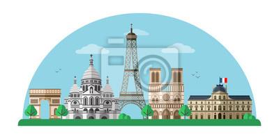 Paris city flat vector banner template