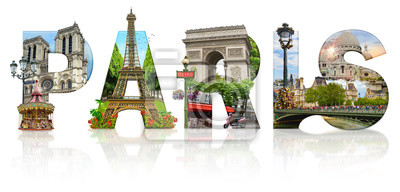 Paris city landmarks. Word illustration of most famous Paris monuments and places.