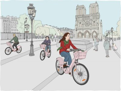 Sticker Paris city scene. A woman enjoys riding a bicycle through the city, in front of the famous Notre Dame Cathedral. Hand drawn illustration.