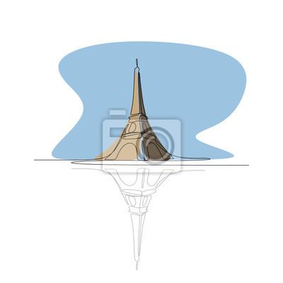 Paris eiffel tower colorful single line drawing vector illustration