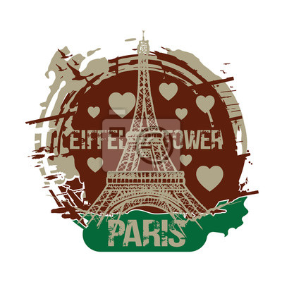 Paris, France city design, with love hearts and Eiffel Tower. Hand drawn illustration.