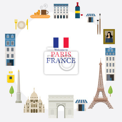 Paris, France Landmarks and Travel Frame