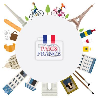 Paris, France Landmarks and Travel Round Frame