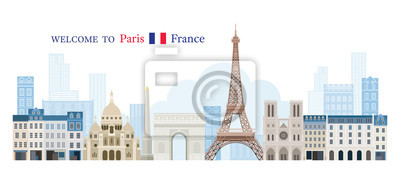 Paris, France Landmarks Skyline