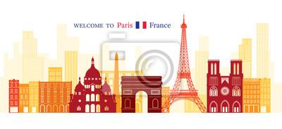 Paris, France Landmarks Skyline, Shape and Silhouette