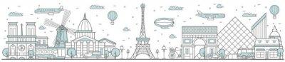 Paris skyline. Line cityscape with building landmarks horizontal panorama. Paris skyline with Eiffel Tower, Notre Dame street city sights. Capital city constructions outline, architecture concept