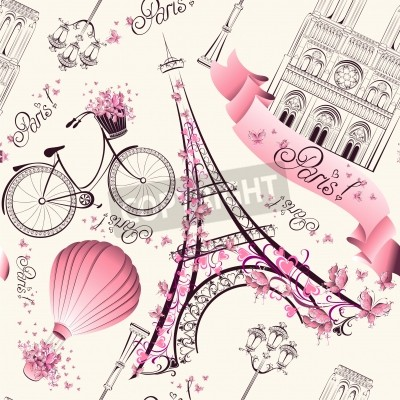 Sticker Paris Symbole nahtlose Muster. Romantische Reise in Paris. Vektor