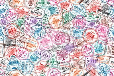 Sticker Passport visa stamps, seamless pattern. International and immigration office rubber stamps. Traveling and tourism concept background