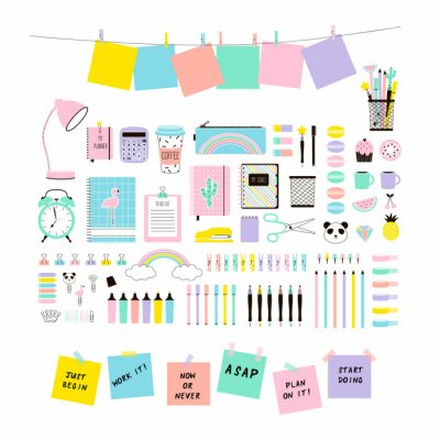 pastel colours cute Office Stationery and School Supplies set, Flat Vector Graphics, Planner clipart, back to school design