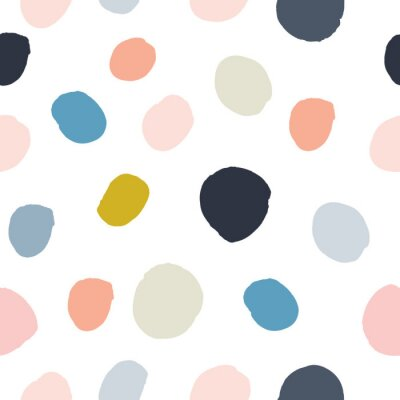 Sticker Pastellpuderrosa-, Marineblau-, Lachs-, beige, graues handgemaltes nahtloses Muster des Tupfens des Aquarells auf weißem Hintergrund. Acryltintenkreise, Konfettirunde Beschaffenheit. Abstrakter Vektor