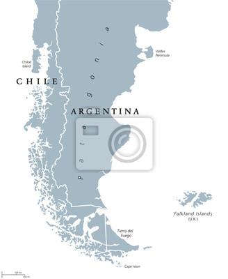 Südamerika Karte Ohne Beschriftung.Sticker Patagonien Politische Karte Das Südliche Ende Des Kontinents