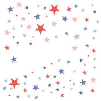 Sticker Patriotischer Hintergrund Vereinigter Staaten in den Flaggenfarben mit verblaßten stumpfen Sternen zerstreute auf einen weißen Hintergrund