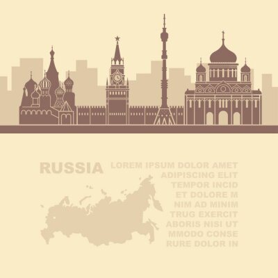Pattern leaflets with a map of Russia and architectural sights of Moscow