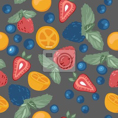 Pattern mit Beeren und Früchte