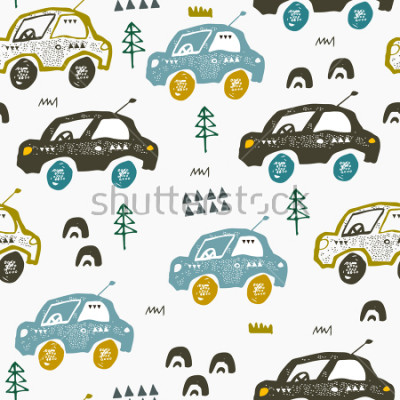 Sticker Pattern with cars. Hand drawn autos on the road. Scandinavian style design. Decorative abstract art. Textile or fabric design