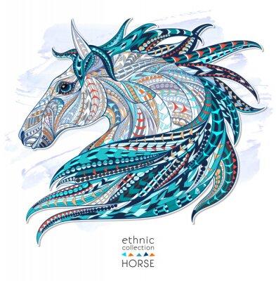 Sticker Patterned Kopf des Pferdes auf dem Grunge-Hintergrund. Afrikanisch / indisch / Totem / Tätowierungentwurf. Es kann für die Gestaltung eines T-Shirt, Tasche, Postkarte, ein Poster und so weiter verwend