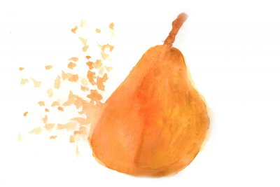 Sticker Pear in Aquarell.