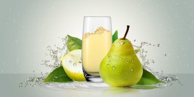 Sticker Pears with a glass of juice.