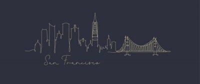 Pen line silhouette san francisco dark blue