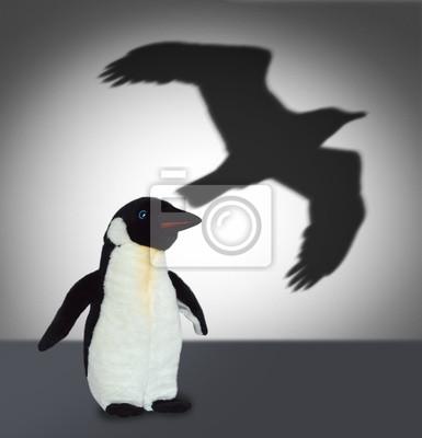 Penguin mit Adler Schatten. Konzept Grafik