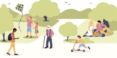 People walking in park color vector illustration