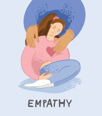 Person embraces a single woman who is in a state of depression and despair. A young unhappy girl sits and hugs her knees. Concept of support, empathy, care for people under stress. Vector illustration