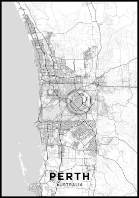 Perth (Australia) city map. Black and white poster with map of Perth. Scheme of streets and roads of Perth.