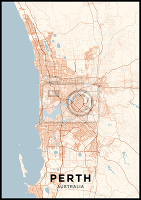 Perth (Australia) city map. Poster with map of Perth in color. Scheme of streets and roads of Perth.