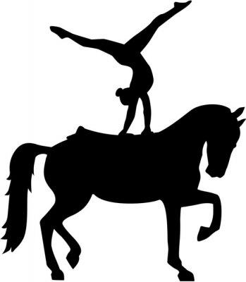 Sticker Pferd Vaulting silhouette Voltigieren