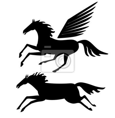 Pferde Silhouette. Vektorzeichnung