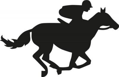 Sticker Pferderennen Silhouette