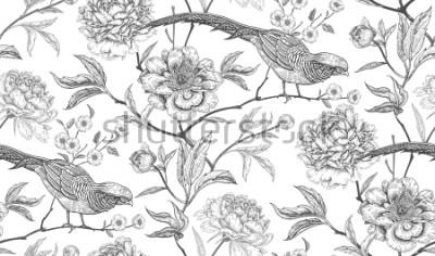 Sticker Pfingstrosen und Fasane. Nahtloses Muster der exotischen Weinlese mit Blumen und Vögeln. Weiß und Schwarz. Orientalischer Stil. Vektorabbildungkunst. Für Designtextilien, Geschenkpapier, Tapeten, Inte