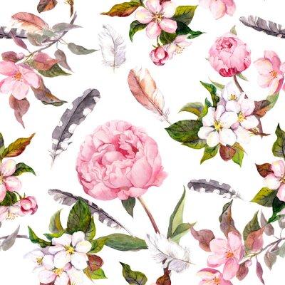 Sticker Pfingstrosenblüten, Sakura, Federn. Vintage nahtlose Blumenmuster. Aquarell