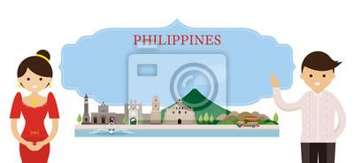 Philippinen Wahrzeichen und Menschen in traditionelle Kleidung