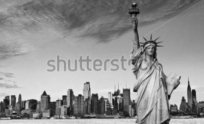 Sticker photo statue of liberty new york city black and white hi contrast. nyc new york city skyline over Manhattan cityscape midtown. statue of liberty over hudson river in new york city.