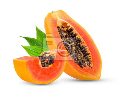 Sticker Piece of ripe papaya fruit with seeds isolated on white